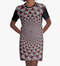 Stoic Flower - Red Grey Graphic T-Shirt Dress