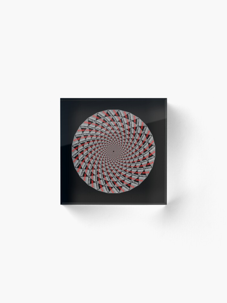Alternate view of Stoic Flower - Red Grey Acrylic Block