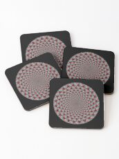 Stoic Flower - Red Grey Coasters