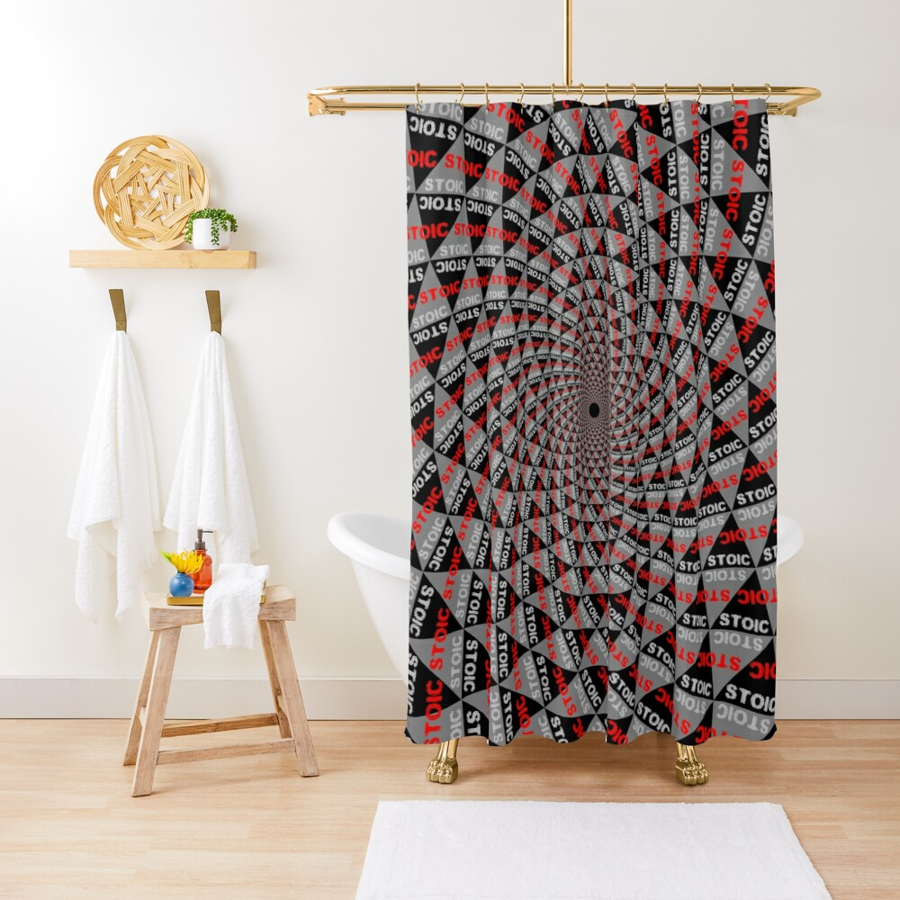 Stoic Flower - Red Grey Shower Curtain