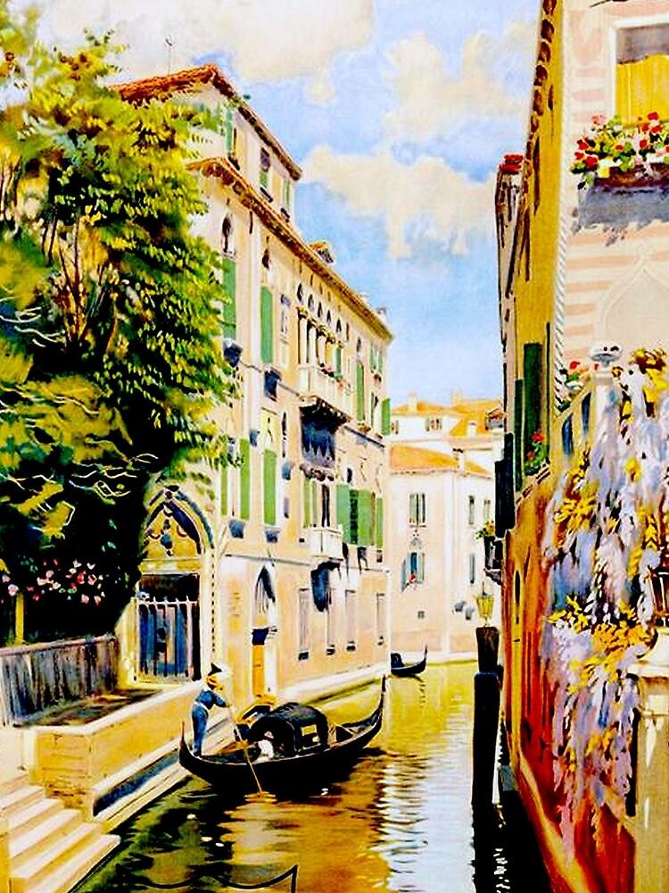 Venedig-Kanäle; Vintage Reise Werbung drucken von posterbobs