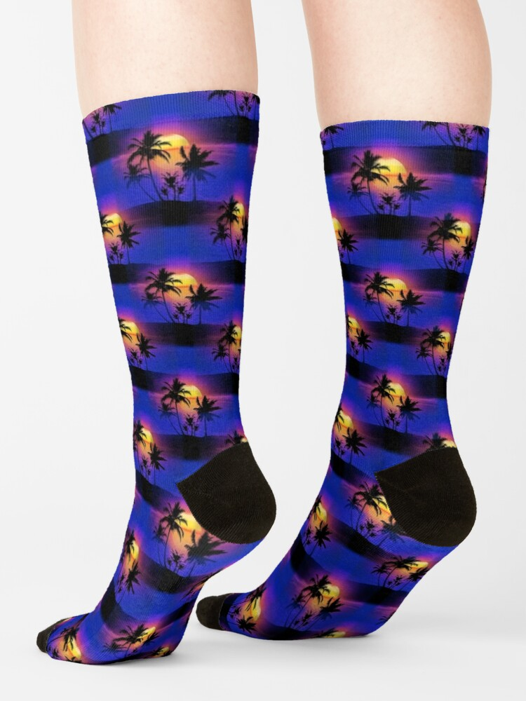 Alternate view of Tropical Sunset Palm Trees Socks
