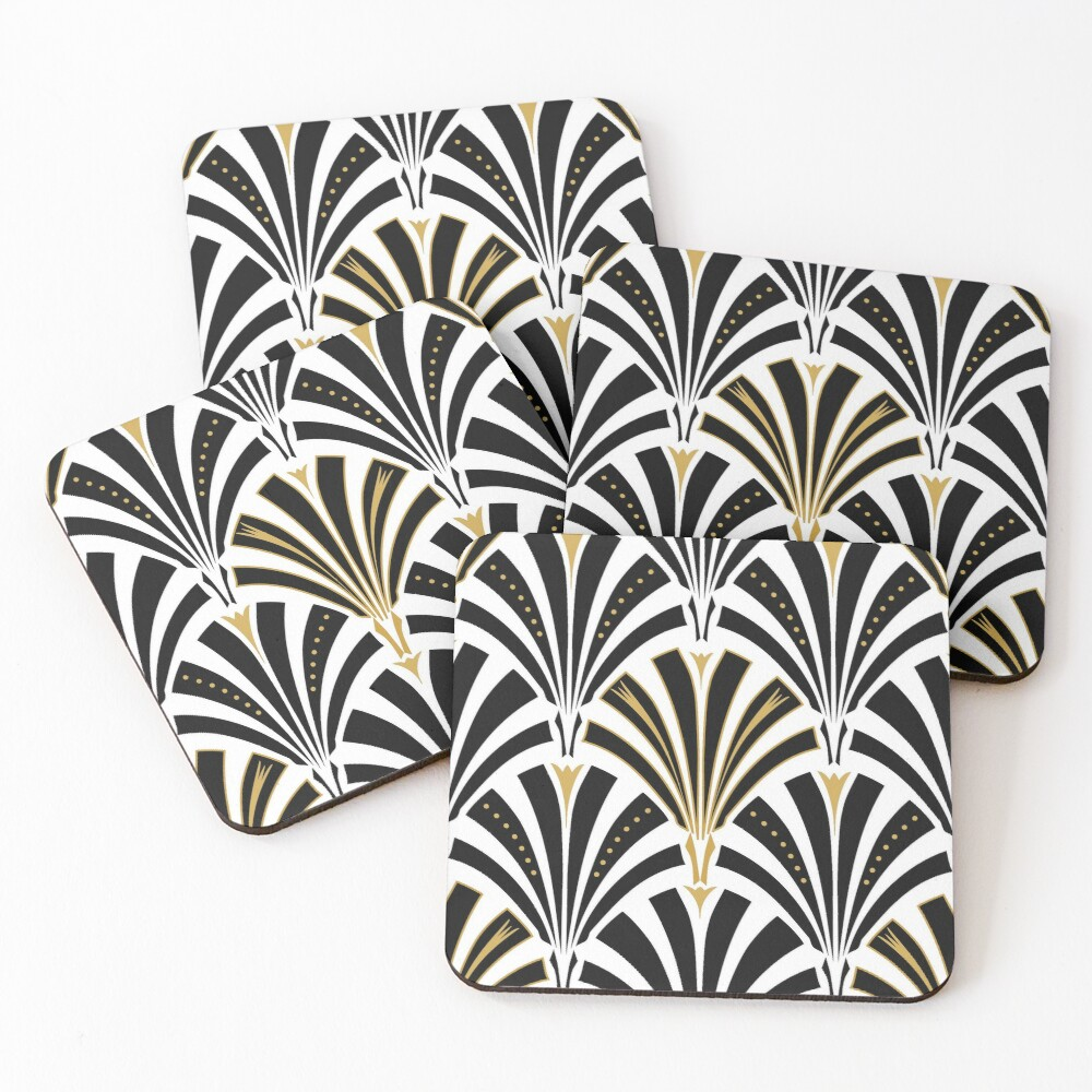 Art Deco fan pattern, black and white Coasters (Set of 4)