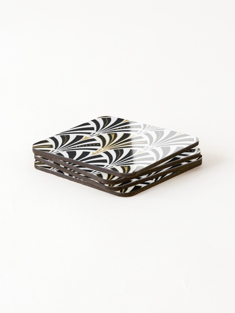Alternate view of Art Deco fan pattern, black and white Coasters (Set of 4)