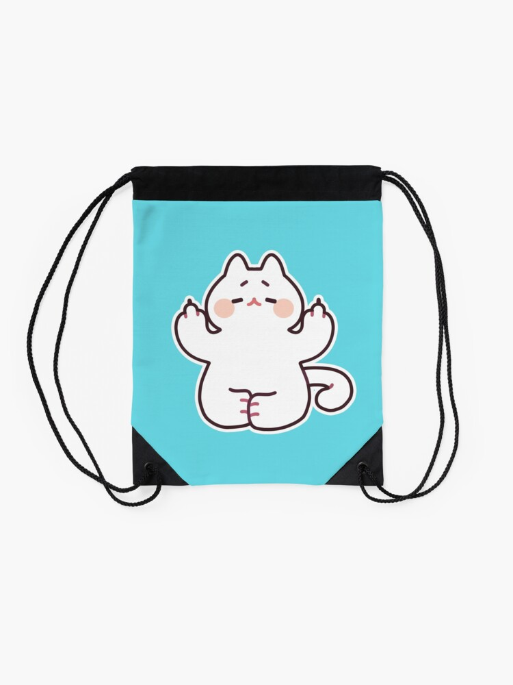 "Alternate view of Meditating ""F**K YOU"" Cat Drawstring Bag"