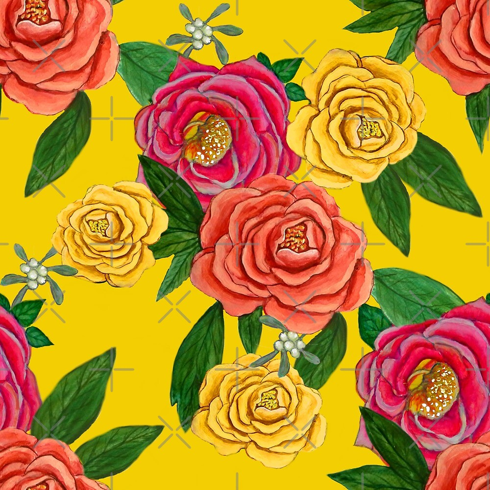 Peony and mistletoe berries on Yellow, New Year floral for 2020 by MagentaRose
