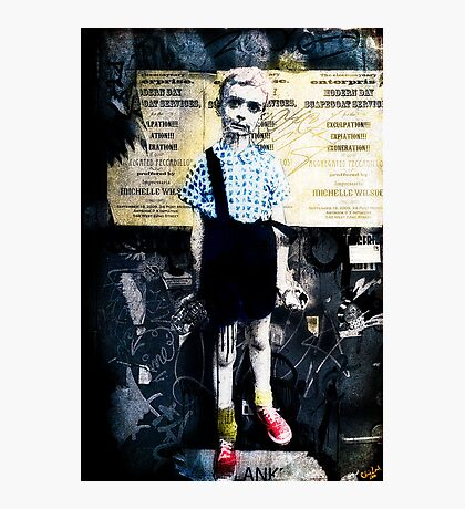 Boy with Hand Grenade Photographic Print