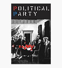 Political Party! shirt (and other items available too) - Choose shirt style/color! (tshirt with red solo solos, shades, beer pong)  Photographic Print