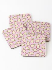 Dragon fruit on pink background Coasters