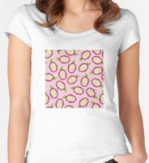 Dragon fruit on pink background Fitted Scoop T-Shirt