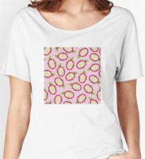 Dragon fruit on pink background Relaxed Fit T-Shirt