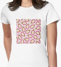Dragon fruit on pink background Fitted T-Shirt