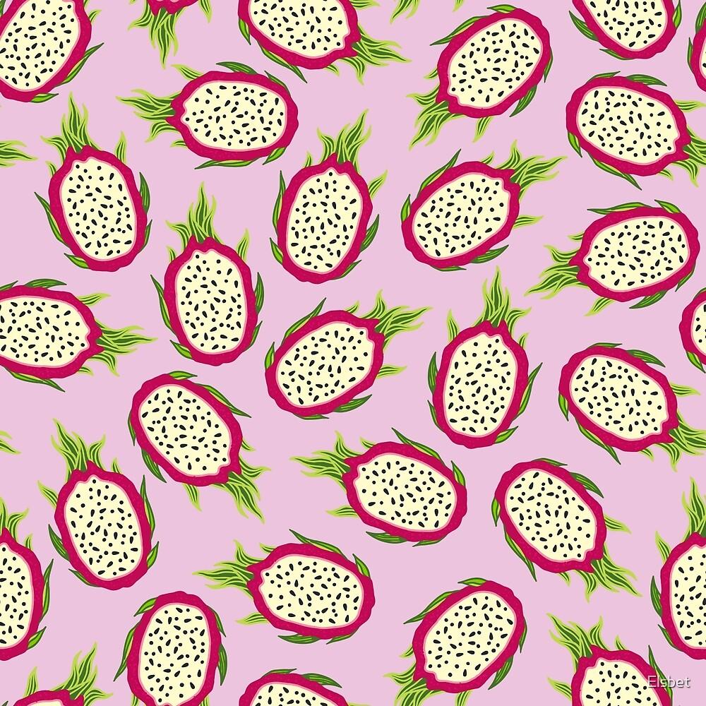 Dragon fruit on pink background by Elsbet