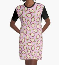 Dragon fruit on pink background Graphic T-Shirt Dress