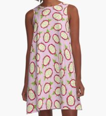 Dragon fruit on pink background A-Line Dress
