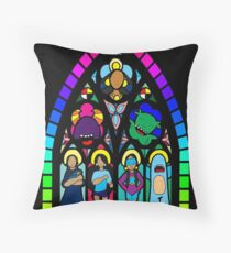 Stain glass self portrait Throw Pillow