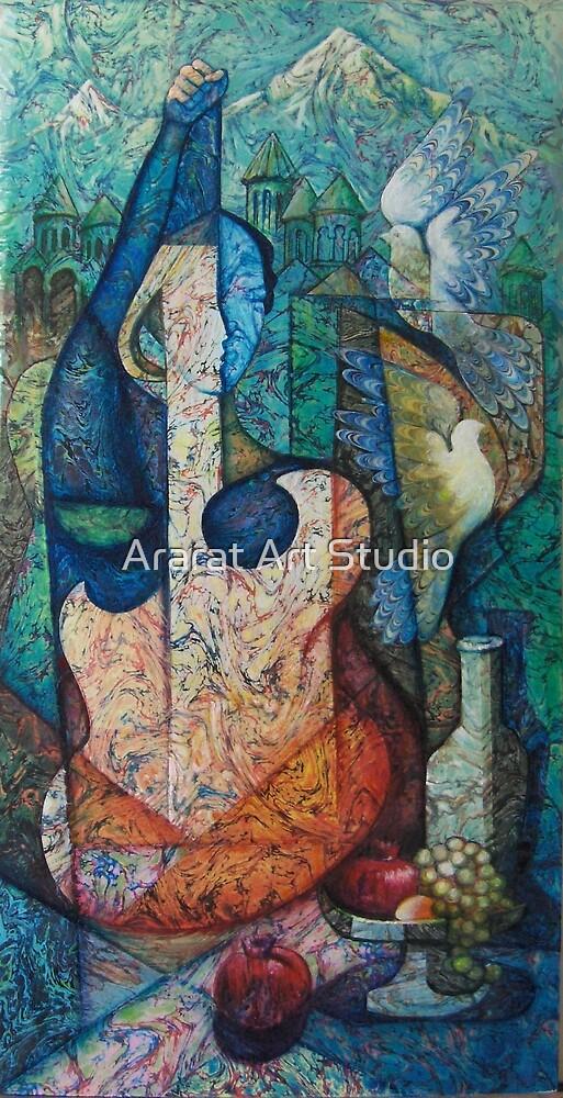 Woman  Giutar by Ararat Art Studio