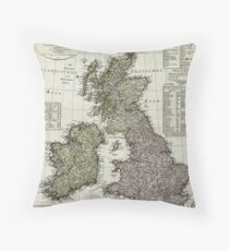Antique Map of the British Isles Throw Pillow