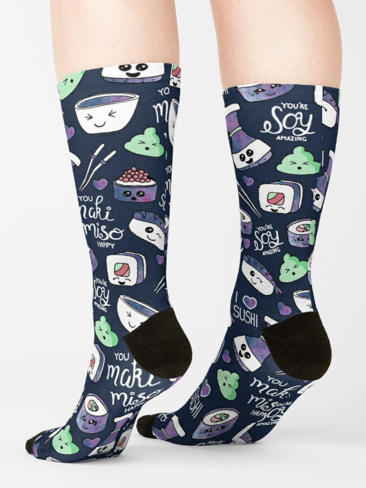 Alternate view of Galaxy Sushi on Dark Blue Socks