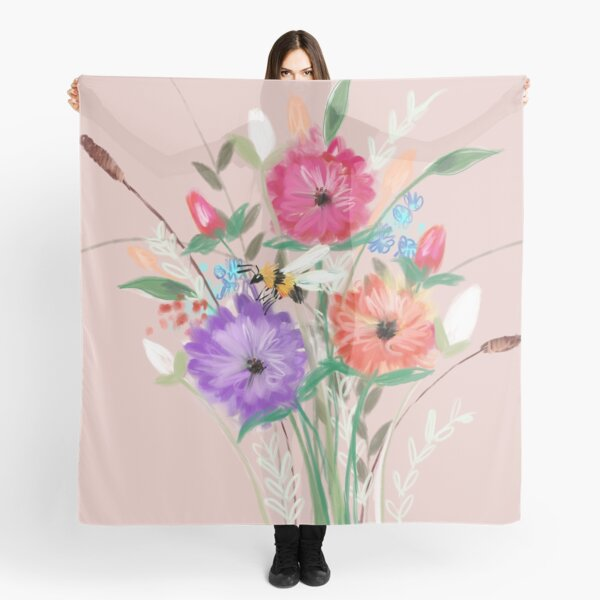 Rose Gold Floral Bouquet  Scarf