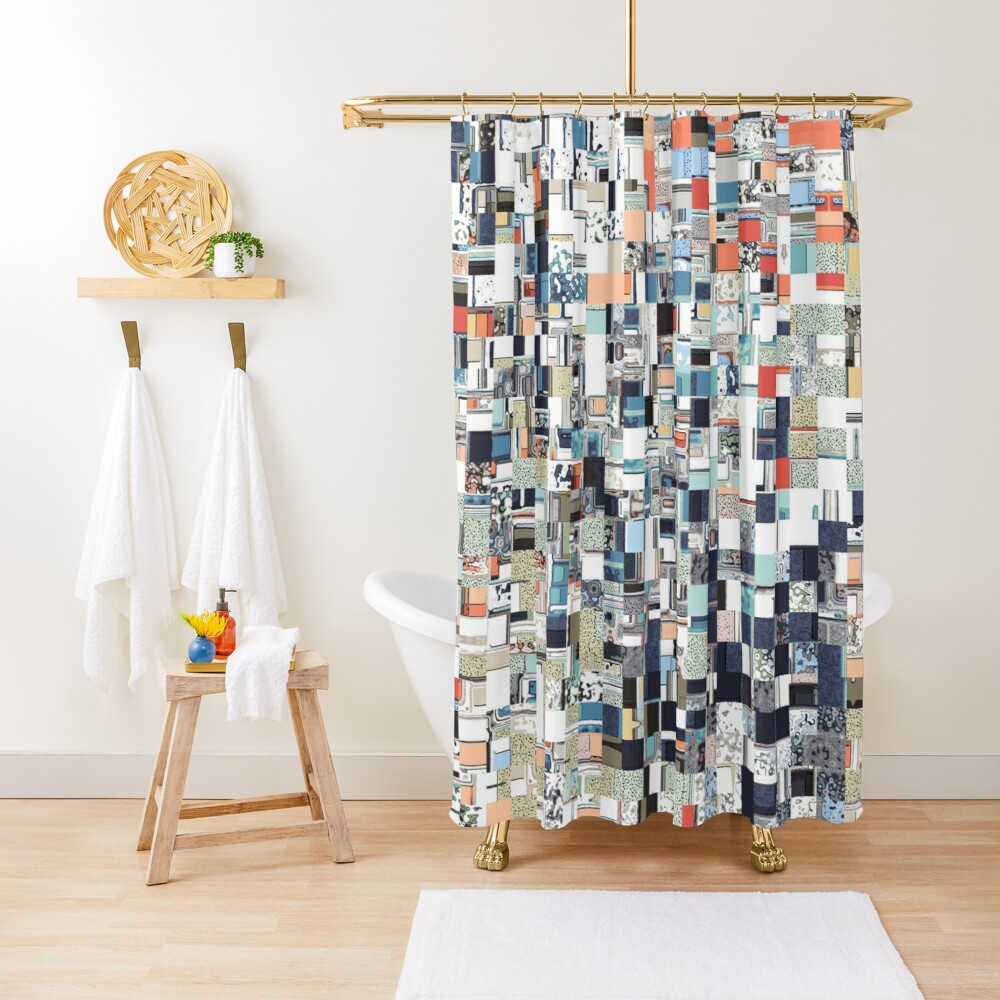 Colorful Chaotic Pattern Shower Curtain