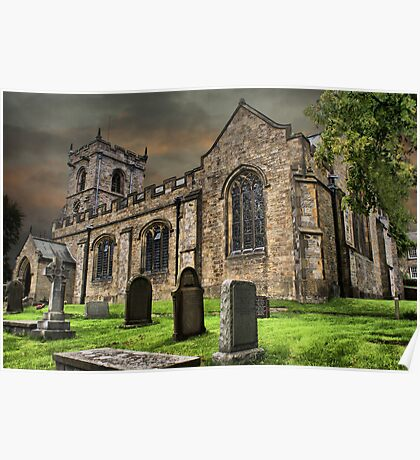 St Leonard's Church at Downham Village, Lancs Poster
