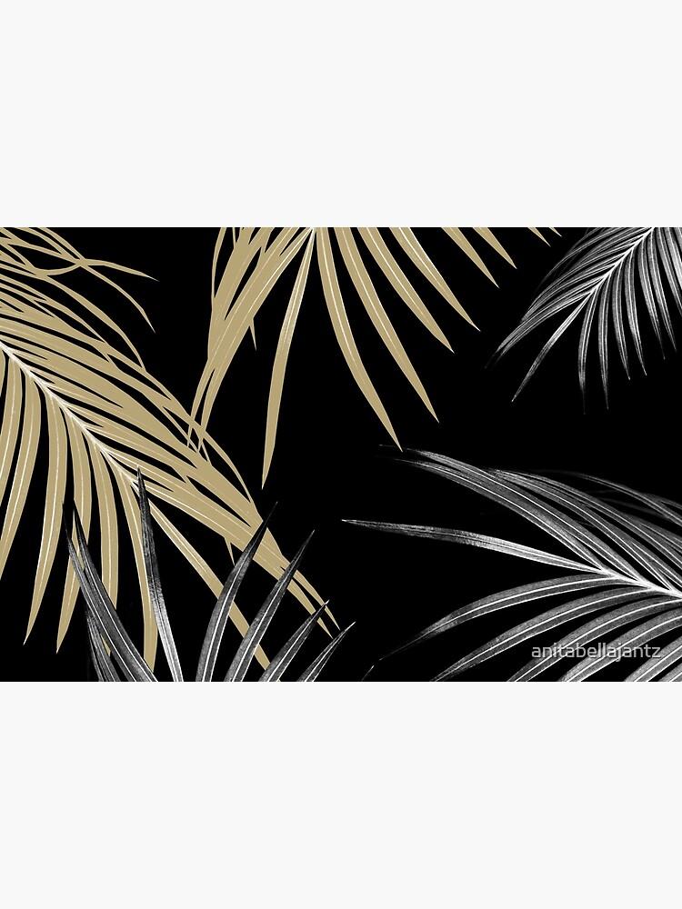 Gold Gray Palm Leaves Dream #1 #tropical #decor #art by anitabellajantz