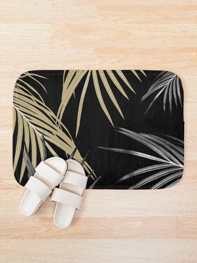 Alternate view of Gold Gray Palm Leaves Dream #1 #tropical #decor #art Bath Mat
