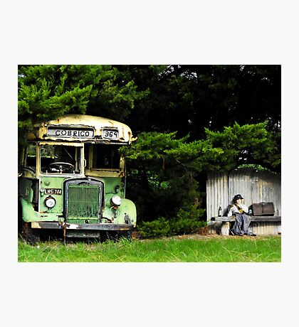Bus Stop to Nowhere Photographic Print