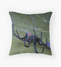 black widow spider hanging on web Throw Pillow
