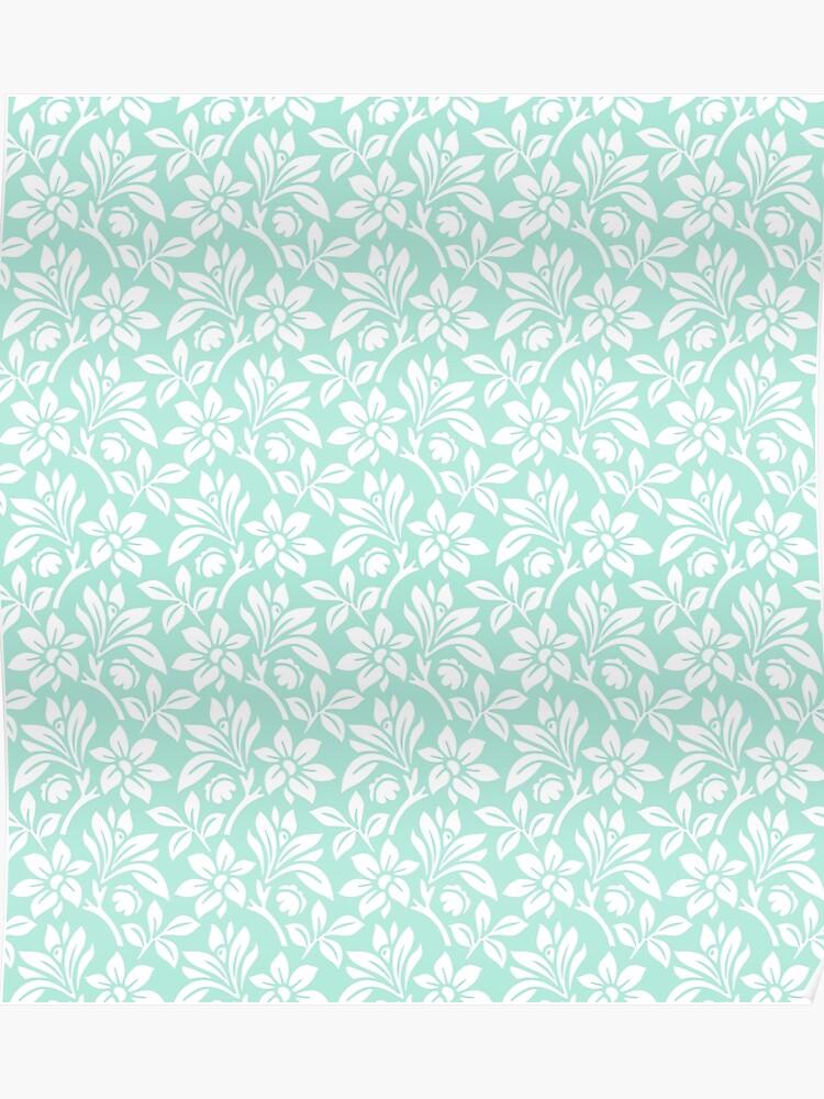 Mint Vintage Wallpaper Style Flower Patterns Poster