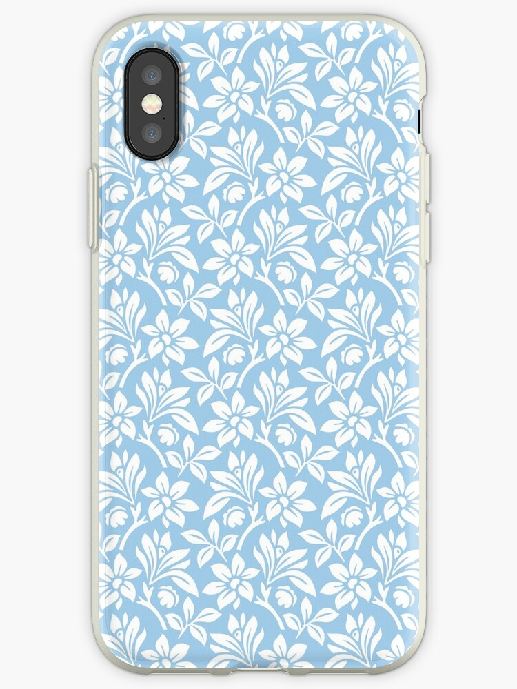 Light Blue Vintage Wallpaper Style Flower Patterns Iphone Case By Imagenugget