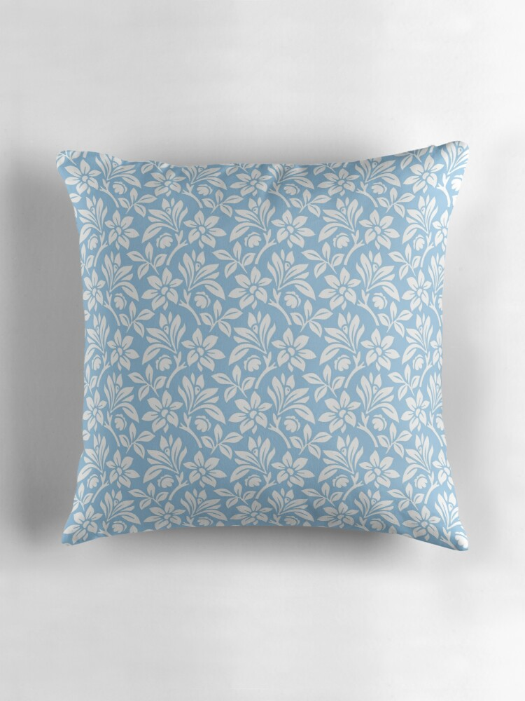 Light Blue Vintage Wallpaper Style Flower Patterns Throw Pillows