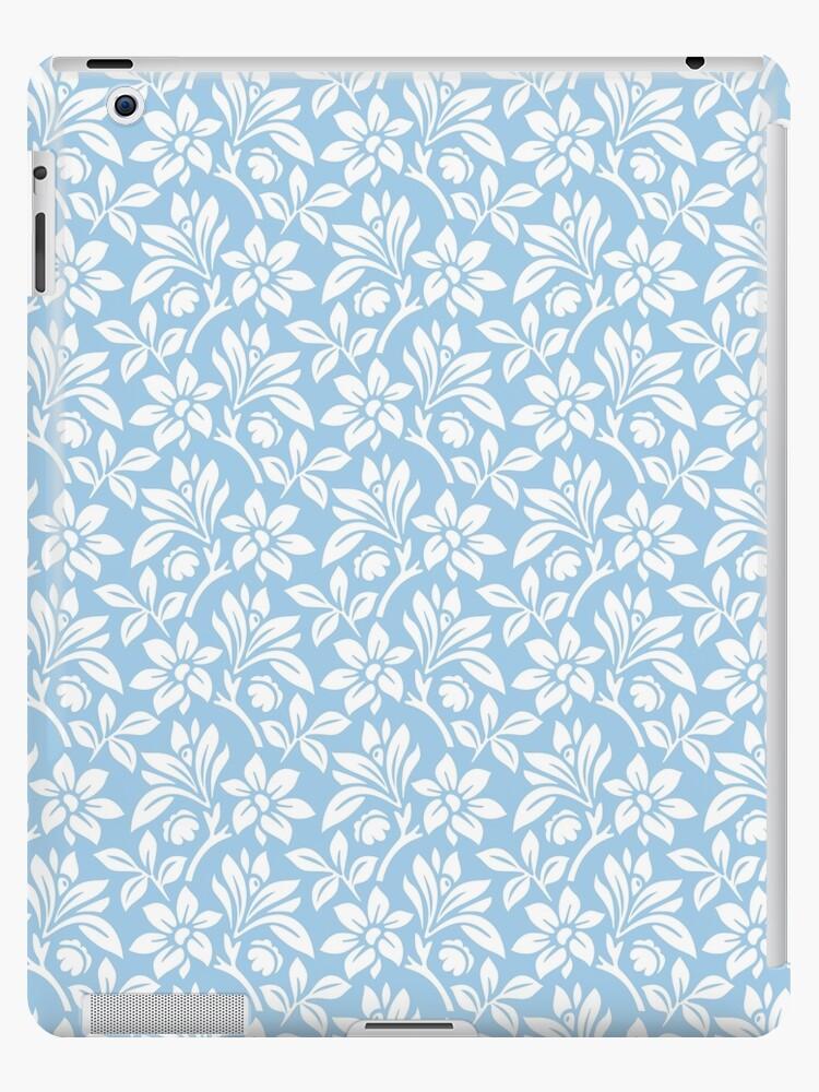 Light Blue Vintage Wallpaper Style Flower Patterns Ipad Case Skin By Imagenugget