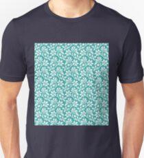 Teal Vintage Wallpaper Style Flower Patterns T-Shirt