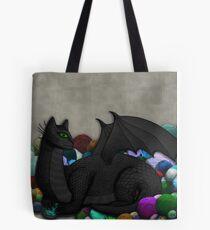 Cat Dragon with Yarn Hoard Tote Bag