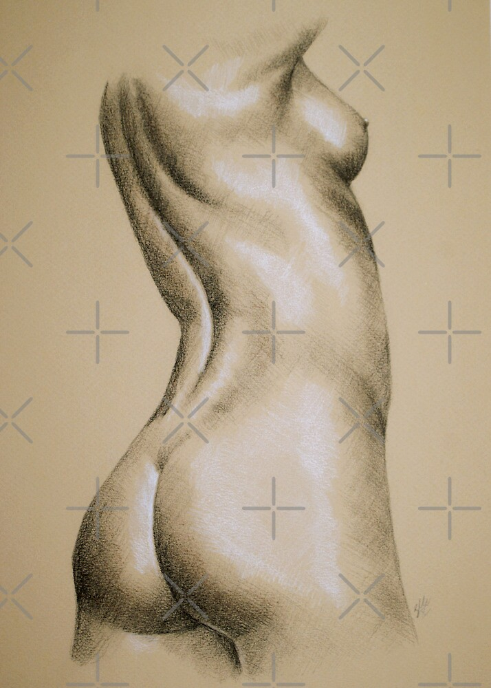 Charcoal Nude Female #5 by Sarah  Mac Illustration