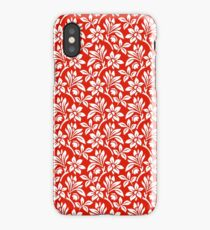 Red Vintage Wallpaper Style Flower Patterns iPhone Case/Skin