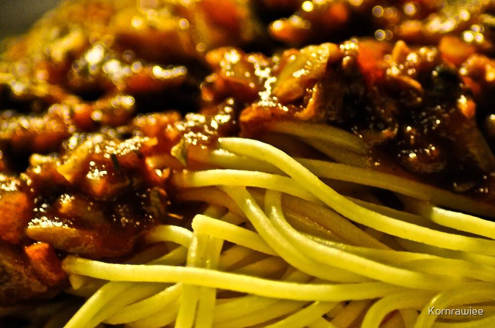 Pasta as Bokeh Focus by Kornrawiee