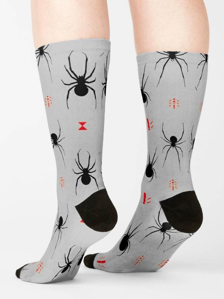 Alternate view of Latrodectus Black Widow spider pattern Socks