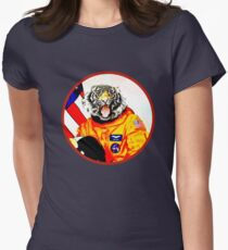 Astronaut Tiger Womens Fitted T-Shirt