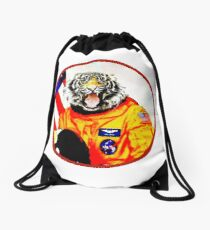 Astronaut Tiger Drawstring Bag