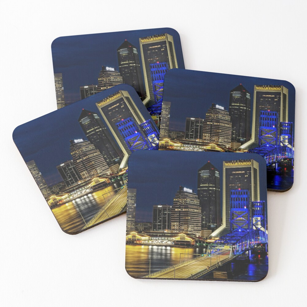 Jacksonville Nighttime Skyline Coasters (Set of 4)