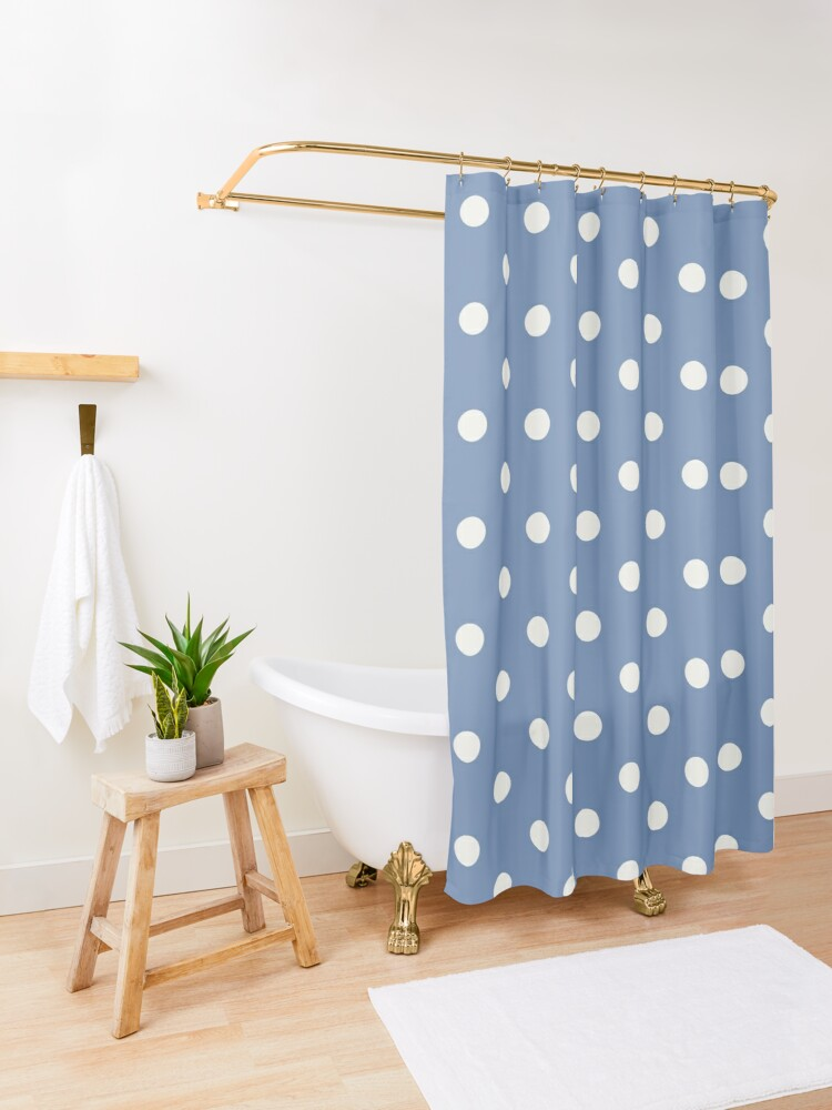 Alternate view of Blue and White Polka Dots  Shower Curtain