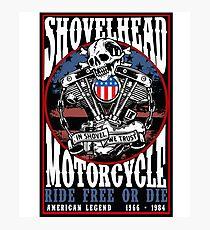 Classic Vintage 70's Retro Shovelhead Motorcycle 1966-1984 Photographic Print