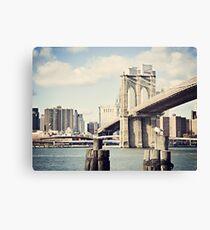 Lienzo View of Manhattan and Brooklyn Bridge
