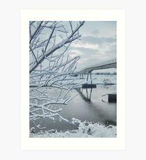 Saltney Ferry FootBridge over Almost Frozen River Dee on the Wales/England Border Art Print