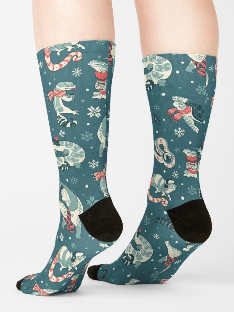 Alternate view of Winter herps in dark blue Socks