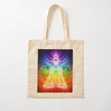 Chakras and energy flow on human body art photo print Cotton Tote Bag