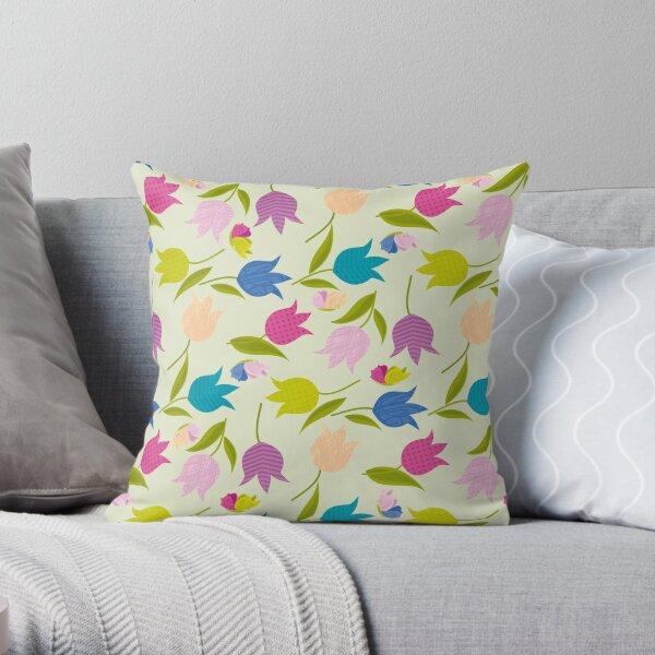 Decorative Tulips Pattern Throw Pillow